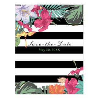Tropical Floral Flowers Leaves Chic Save the Date Postcard