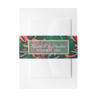 Tropical Floral Gold Frame Hawaiian Wedding Shower Invitation Belly Band