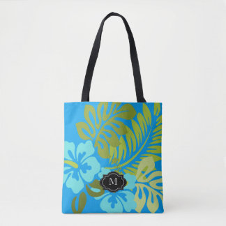 Tropical floral Hawaiian Hibiscus monogram beach Tote Bag