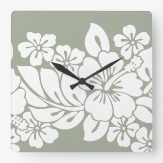 Tropical Floral Hibiscus Design Wallclocks