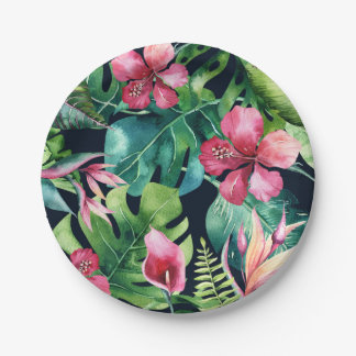 Tropical Floral Hibiscus & Palm Leaves Hawaiian Paper Plate