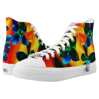 Tropical Floral Hightop ZIPZ Printed Shoes
