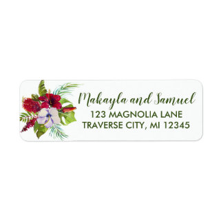 Tropical Floral Island Hibiscus Green Address Return Address Label