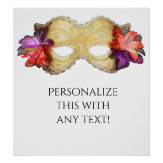 Tropical Floral Masquerade Mask Party Banner Poster