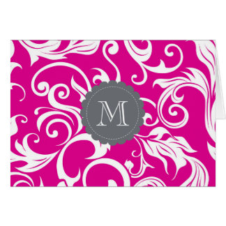 Tropical Floral Monogram Note Card Pink Gray