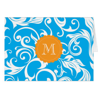 Tropical Floral Monogram Note Card Turquoise Blue