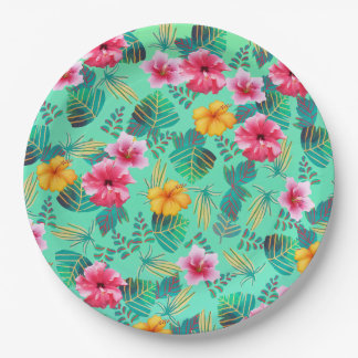 Tropical Floral Paper Plate 9 Inch Paper Plate
