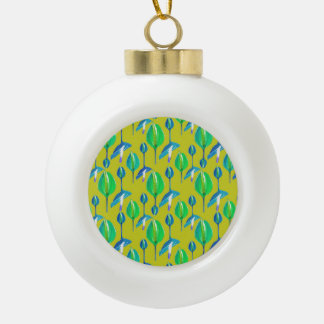 Tropical Floral Pattern Ceramic Ball Christmas Ornament