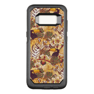 Tropical Floral Pattern With Tiger OtterBox Commuter Samsung Galaxy S8 Case