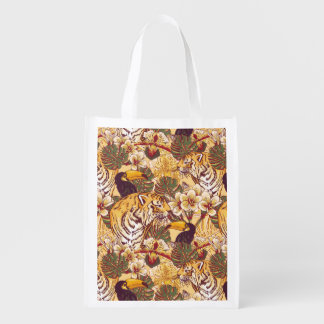 Tropical Floral Pattern With Tiger Reusable Grocery Bag