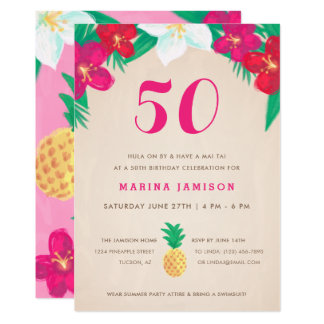 Tropical Floral & Pineapple 50th Birthday Party Card