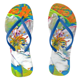 Tropical floral print flip flops