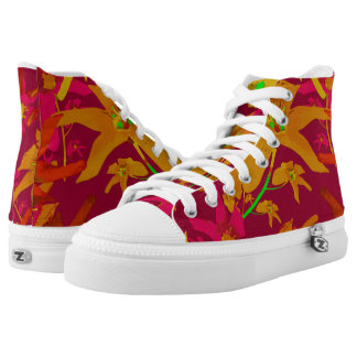 Tropical Floral Print High Top Shoes Printed Shoes