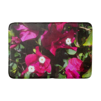 Tropical Floral Print, Retro Mood Bath Mat