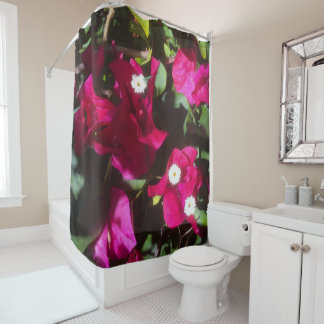 Tropical Floral Print, Retro Mood Shower Curtain