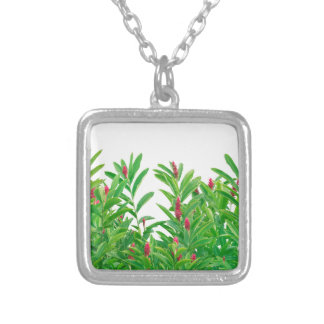 Tropical Floral Print Silver Plated Necklace