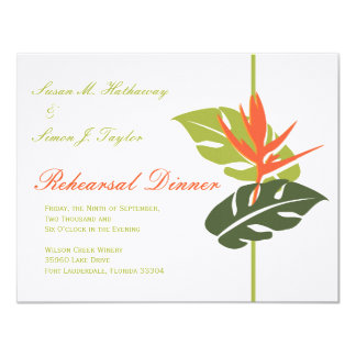 "Tropical Floral Rehearsal Dinner Invitation 4.25"" X 5.5"" Invitation Card"