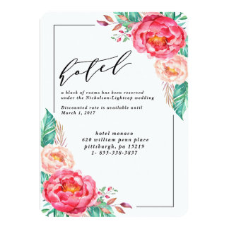 Tropical Floral Summer Wedding Invitations
