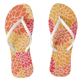 Tropical Floral vibrant yellow flower pattern Thongs