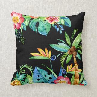Tropical Floral Watercolor Black Cushion