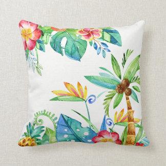 Tropical Floral Watercolor Cushion