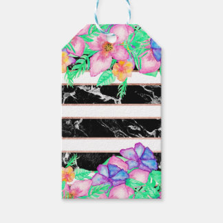 Tropical floral watercolor marble gold stripes