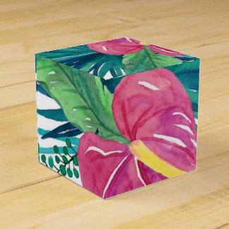 Tropical Floral Watercolor Print Favor Boxes