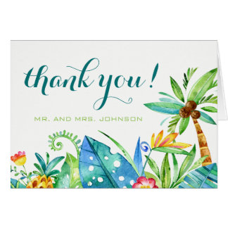 Tropical Floral Watercolor Thank You Note Card