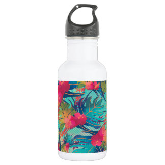 Tropical Floral Watercolor Water Bottle