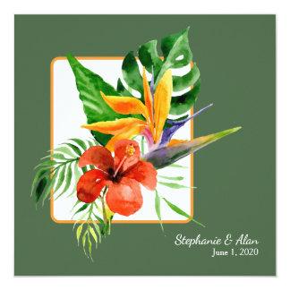 Tropical Floral Watercolor Wedding Invitation