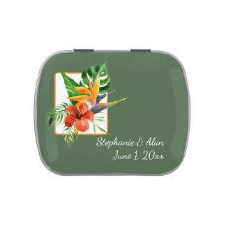 Tropical Floral Watercolor Wedding Jelly Belly Tin