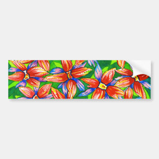 Tropical Floral Watercolour Bumper Sticker