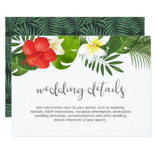 Tropical Floral Wedding Details Info ID475 Card