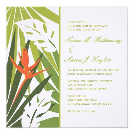 Tropical Floral Wedding Invitation - Green Orange