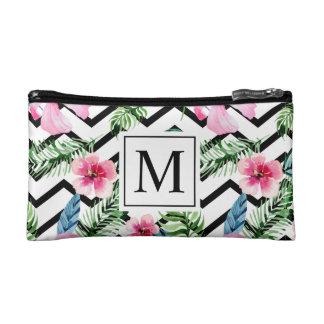 Tropical Floral Wedding Monogram   Cosmetic Bag