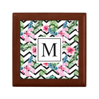 Tropical Floral Wedding Monogram | Jewelry Box