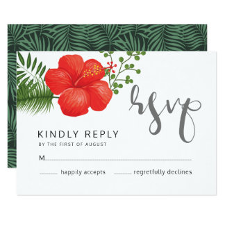 Tropical Floral Wedding RSVP ID475 Card