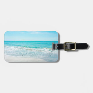Tropical Florida Beach Sand Ocean Waves Sandpiper Luggage Tag