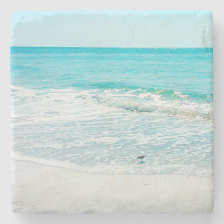 Tropical Florida Beach Sand Ocean Waves Sandpiper Stone Beverage Coaster