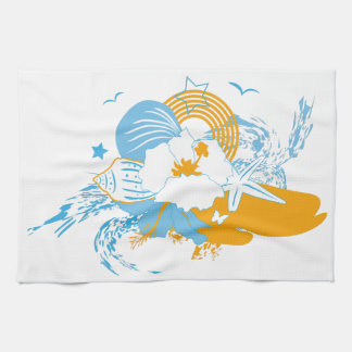 Tropical flower and seashell summer illustration hand towels