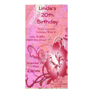 Tropical Flower Birthday Customised Photo Card