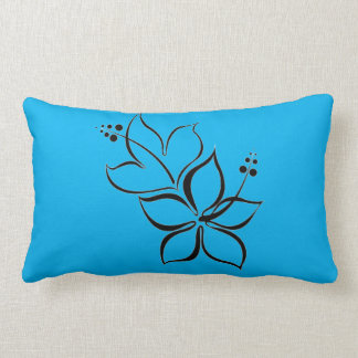 Tropical Flower design turquoise bed pillow