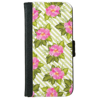 Tropical Flower Green Stripes iPhone Wallet Case
