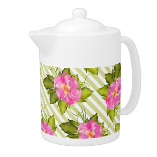 Tropical Flower Green Stripes Medium Teapot