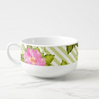 Tropical Flower Green Stripes Soup Mug