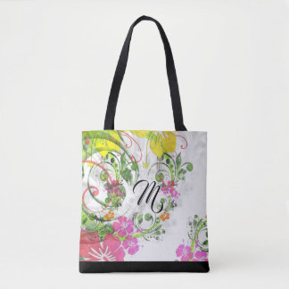 Tropical flower hibiscus tote