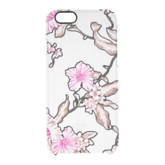 Tropical flower pattern ice clear clear iPhone 6/6S case