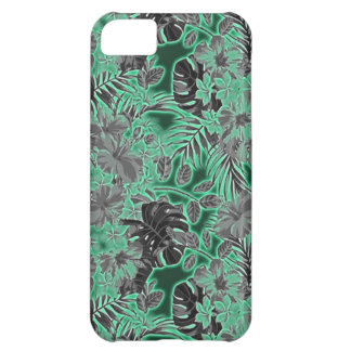 tropical flower pattern neon green and black iPhone 5C case