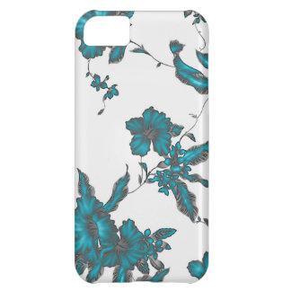 Tropical flower pattern Neon light blue look iPhone 5C Case