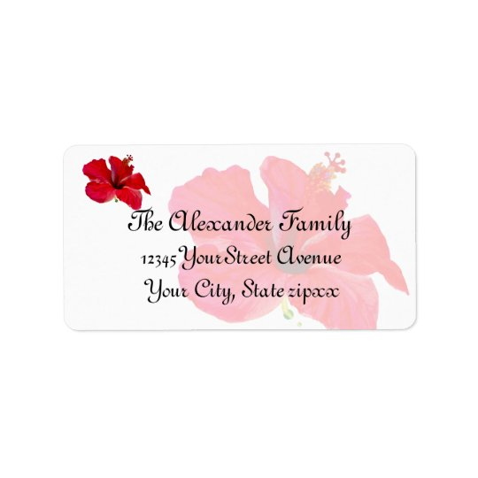 Tropical Flower Red Hibiscus Address Label
